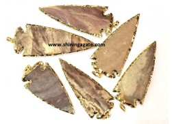 3INCH FANCY JASPER ELECTROPLATED ARROWHEAD PENDANTS