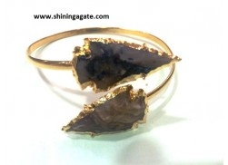FANCY JASPER ARROWHEAD BANGLE WITH FLAT ROD