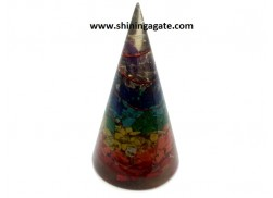 CHAKRA LAYERED COPPER WIRE WRAPPED ORGONE CONES