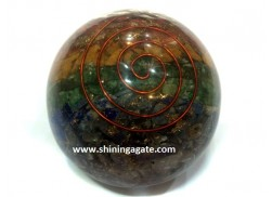 CHAKRA LAYERED ORGONE BIG SIZE BALLS WITH COPPER WIRE