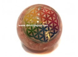 CHAKRA FLOWER OF LIFE ROSE QUARTZ ORGONE BALL
