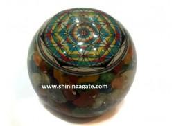 CHAKRA FLOWER OF LIFE MIX GEMSTONE ORGONE BALL
