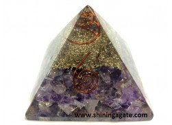 AMETHYST ORGONE PYRAMID WITH COPPER COIL