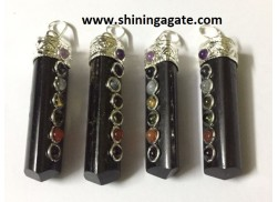 BLACK TOURMALINE CHAKRA PENCIL PENDANT WITH SILVER CAP