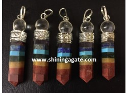 CHAKRA BONDED PENCIL PENDANT WITH CRYSTAL BALL