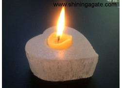 SELENITE HEART SHAPED CANDLE HOLDERS