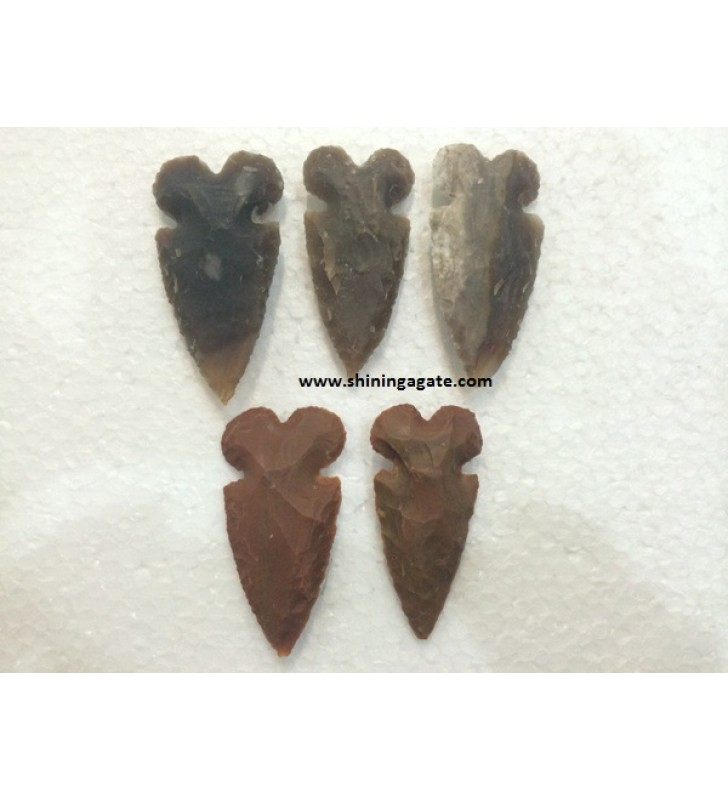 NEOLITHIC ROUND CARVED ARROWHEADS