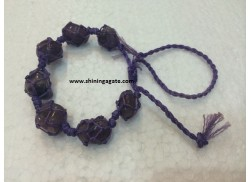 AMETHYST NETTED TUMBLE BRACELET WITH DRAW-STRING