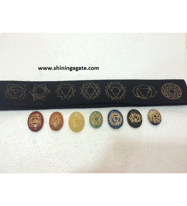 CHAKRA ENGRAVED OVAL SET WITH PURSE