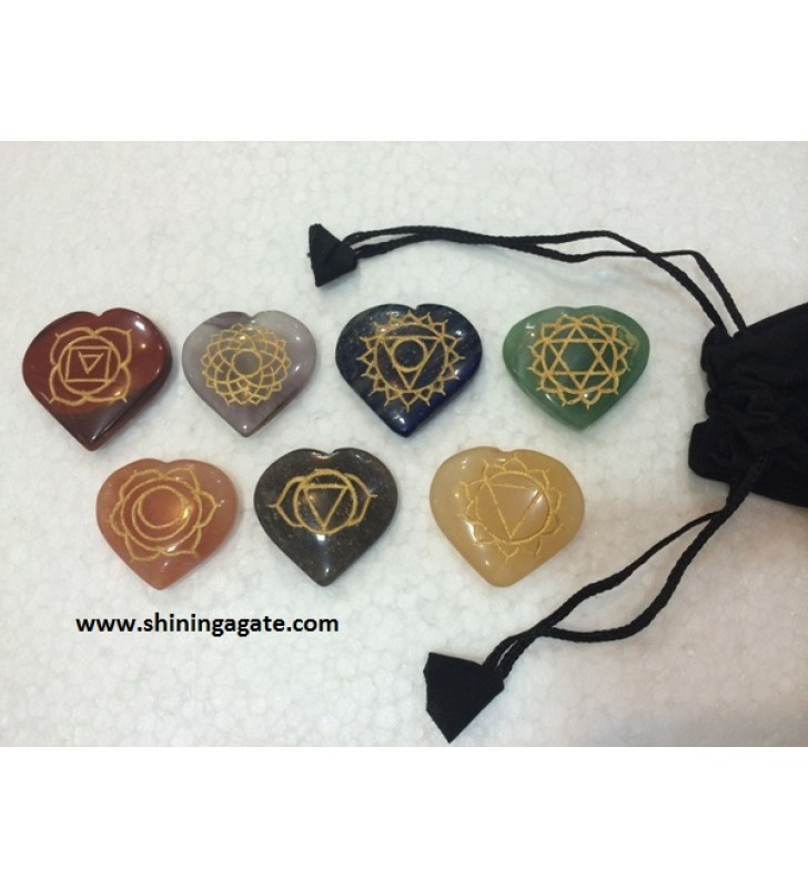 CHAKRA ENGRAVED HEART SET WITH POUCH