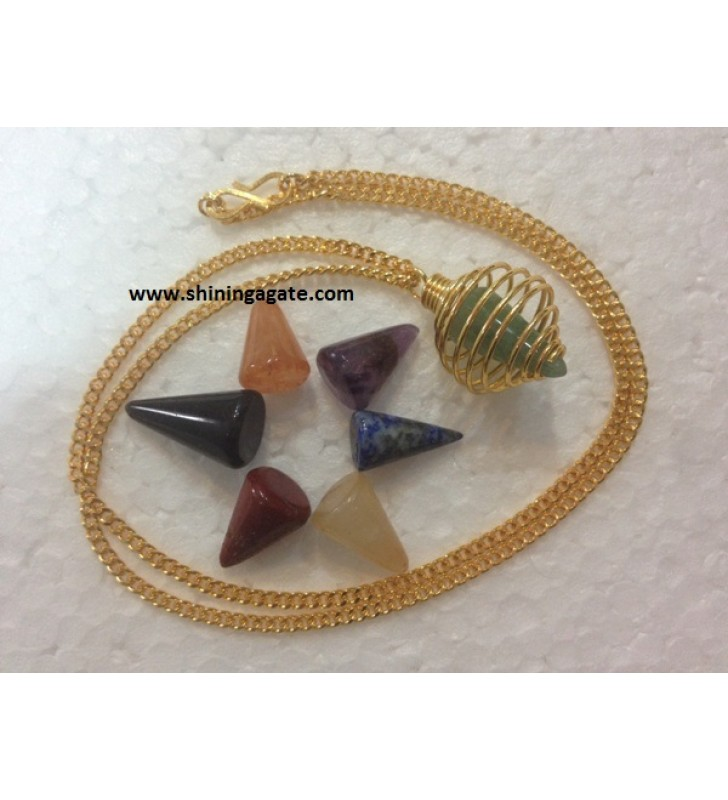 GOLDEN CAGE CHAKRA CONE NECKLACE SET