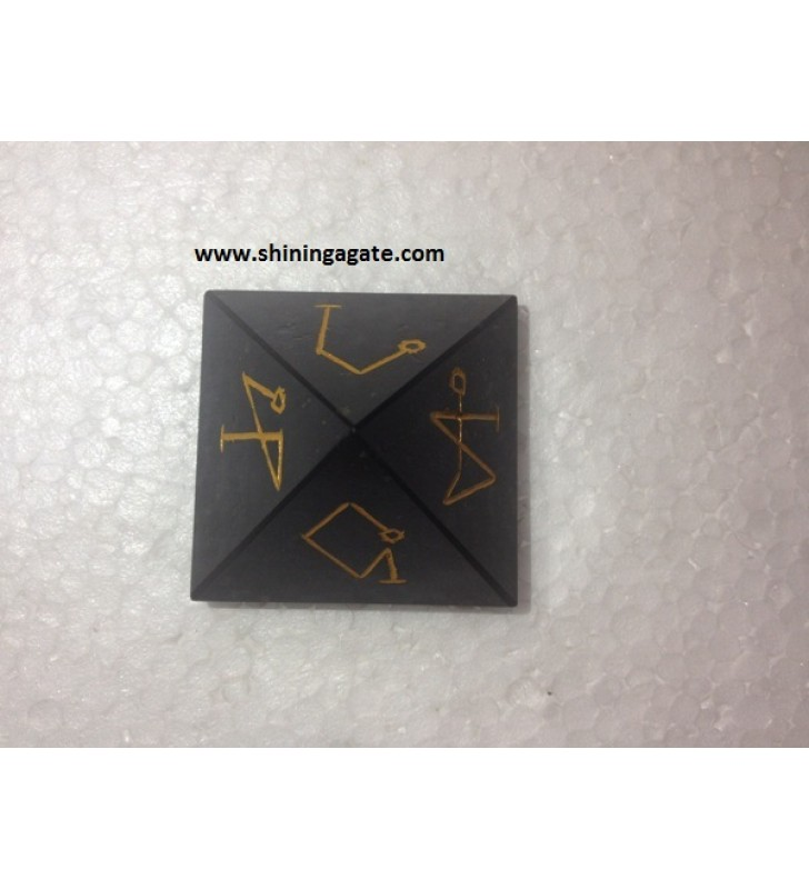 BLACK JASPER ARCH ANGLE ENGRAVED PYRAMID