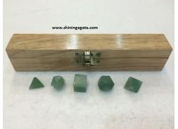 GREEN AVENTURINE 5PCS GEOMETRY SET WITH BOX