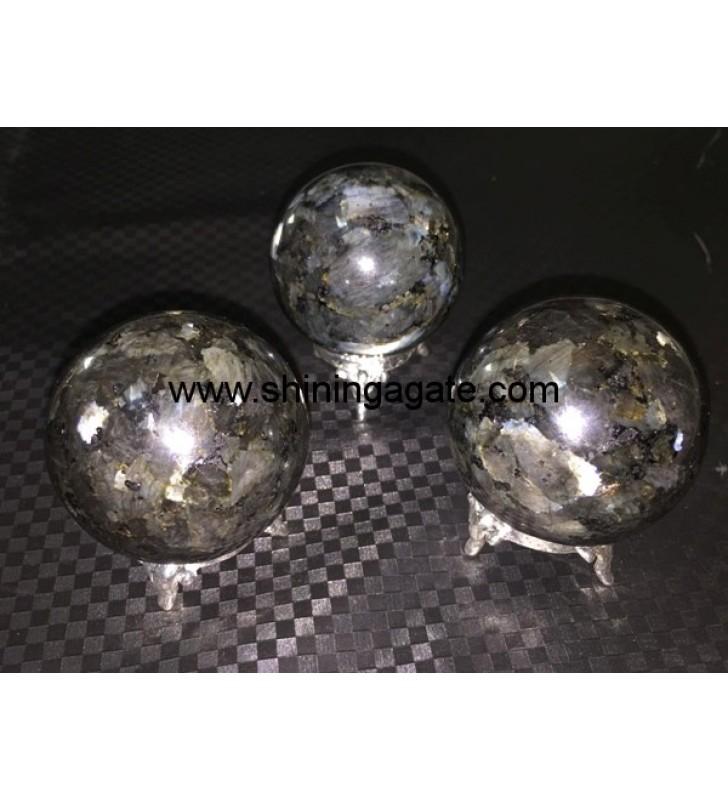 Larvikite (Black Moonstone) Spheres